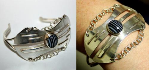 Bracelet - Sterling Silver and zebra agate.