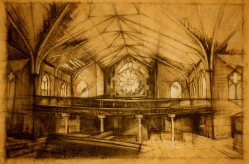 Abandoned Church, St. Louis - Charcoal and chalk on paper