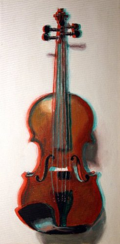 3D Violin - Oil on canvas