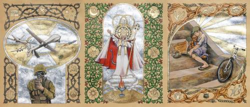 Pages from Illuminated Manuscript - Gold leaf, silver leaf, egg tempera and ink on tea-dyed paper.